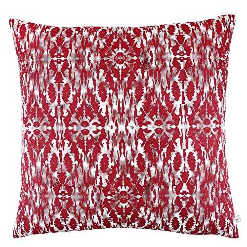 Maroon Printed Cushion Covers - Cotton Cushion Covers in Abstract Design - Cushion Covers with Conceiled Zip Closures - 18 inch x 18 inch (45 cm x 45 cm) - Cushion Covers for Sofa & Living Room - Set of 2 - by Zubix