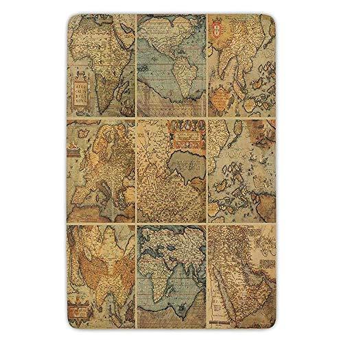 35afd46e3c9f Bathroom Bath Rug Kitchen Floor Mat Carpet,Wanderlust Decor,Collage with  Antique Old World