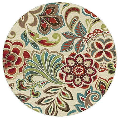 Sarah Duke Alfombra Oriental Vintage Redonda Pelo Corto Multicolor Flores Estilo rústico Alfombra Exterior...