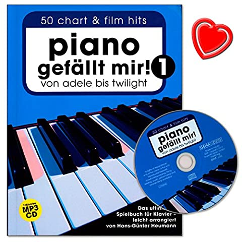 Piano gefällt mir - Band 1 - Songbook für Klavier von Hans-Günter Heumann - umfangreiche, moderne Klavier-Spielbuch mit CD und bunter herzförmiger Notenklammer