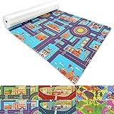 Spielmatte für Kinder mit Straßen und Häuser | schadstofffrei gemäß REACH | abwaschbar | rutschfester Kinderspielteppich | zahlreiche Größen | Stadt Blau | 140x70 cm
