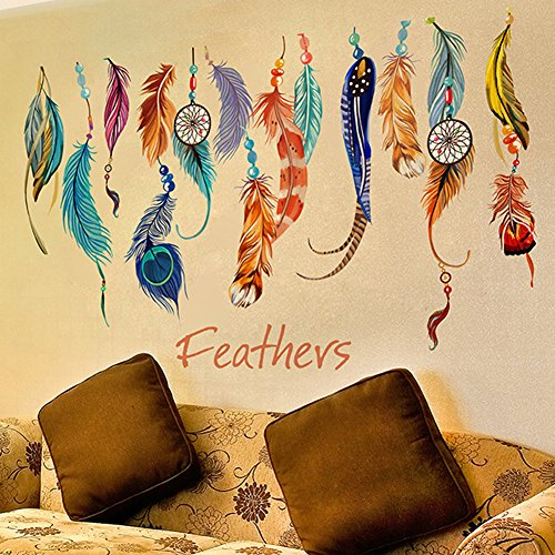 brooke-celine-2pcs-home-decoration-wall-stickers-colorful-feathers-home-decor-removable-wallpapers-b