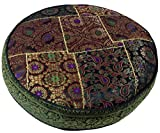 Orientalisches Rundes Patchwork Kissen 40 cm, Sitzkissen, Bodenkissen mit Baumwollfüllung / Boden, Stuhl & Sitzkissen