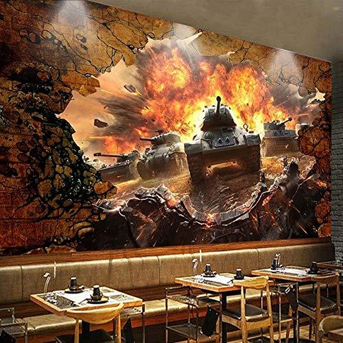 3D Panzer Gebrochene Wand Persönlichkeit Werkzeug Poster Wandbild Tapete Restaurant Cafe Hintergrund Wand Dekoration ()