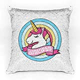 #10: Crazyink Unicorn Round Art Premium Printed Designer Magical Color Changing Sequin Mermaid Cushion Cover | 12 x 12 size | Only Cushion Cover | Reversible Paulette Design | HD Printed | Perfect for Gift to Lovable One | Glam Pillow | Slim Light Weight.