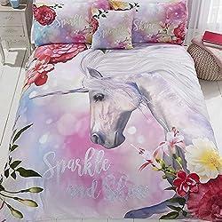 Sparkle And Shine Juego de funda de edredón y 2 fundas de almohada de unicornio brillante y brillante, poliéster, algodón, multicolor, doble