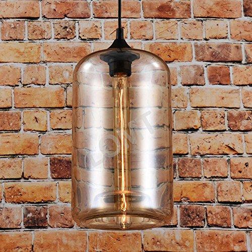 Glas Vintage Anhänger Licht zum Aufhängen Deckenleuchte Bernstein Radzylinder