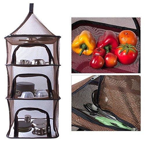 Pieghevole mesh Cloth Hanging Holder Storage Bag 4 strati appeso a rete portaoggetti per outdoor campeggio pieghevole a secco netto mensola picnic stoviglie