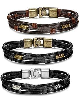 Jstyle Schmuck Herren Lederarmband Braun Handgemachte Herrenarmband Für Männer Junge Länge:21,5cm Breite:10mm