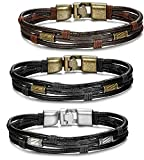 Jstyle Schmuck 3 Stück Herren Lederarmband Braun Handgemachte Herrenarmband Für Männer Junge Länge:21,5cm Breite:10mm
