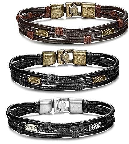Jstyle 3 Pcs Bracelet Homme Alliage avec Leather Cuir cordon - Chaîne de Main - Tribal Tressé - Bracelets-manchettes - 21.5 cm de Longueur