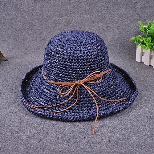 GXFC Chapeau de soleil à la mode Lady summer,chapeau de soleil en paille,chapeau de plage pliable,chapeau de paille,circonférence de la tête ajustée(56-59)cm Cyan