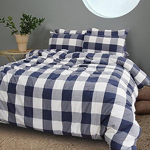 Merryfeel Bettwäsche-Set 2-3 teilige, 100% Baumwolle Garn gefärbt Bettbezug &