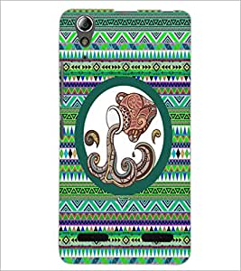 PrintDhaba Tribal Pattern D-3013 Back Case Cover for LENOVO A6000 (Multi-Coloured)