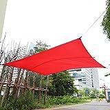 Cocoarm Sonnensegel Wasserabweisend imprägniert Sonnenschutz Garten Balkon und Terrasse wetterbeständig Rechteck Rot 3 x 4m