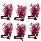 ArtiDeco 1920s Feder Stirnband 20er Jahre Stil Flapper Haarband Gatsby Stirnband Damen Kostüm Charleston Accessoires (Rot 6Stück)