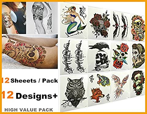 [New Arrival] Love Nest 12 sheets/pack Fashion Designs Best waterproof Body Art Arm Temporary Tattoos for man and woman