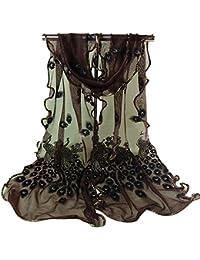 Bluelans Foulard long et doux pour femme Motif paon marron café taille unique