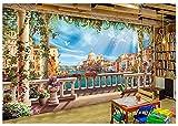 Yosot Tapete 3D Wandbild Home Decor Kontinentale Ästhetik Romantische Balkon Schloss Architektur Hintergrund Wohnzimmer Sofa Tapete 3D-350cmx245cm