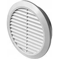 Lüftungsgitter Ø 100 110 120 125 150 mm rund weiß Kunststoff Insektennetz Abluftgitter Zuluft Abluft Gitter Lüftung T36