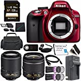 Nikon D3300 DSLR Camera With AF-P 18-55mm VR Lens (Red) 1533 + Nikon 55-200mm F/4-5.6G ED VR II Lens + Rechargable Li-Ion Battery + Charger + Sony 128GB Card + HDMI Cable + Case + Remote Bundle