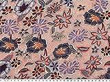ab 1m: Viskose-Jersey-Druck, Blumen, natur-blau-orange, 145cm breit