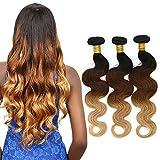 Ombre Body Wave 3 Bundles Tessuto brasiliano dei capelli del Virgin 3 tono colorato 1B / 4/27 estensioni dell'onda del corpo di trama dell'onda del corpo (12 14 16 inch)