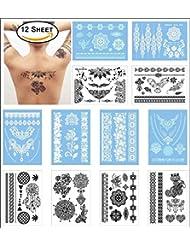 COKOHAPPY 12 Feuilles Mariage Dentelle Temporaire Tatouage Pour Girl Pour Femmes - Corps Art Noir and Blanc Dentelle Tatouage