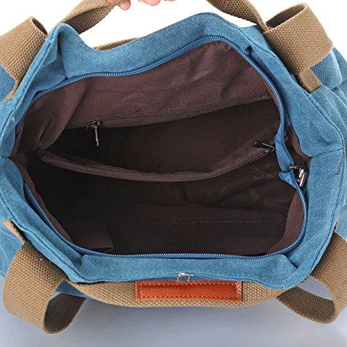 Moonsister Retro Jahrgang Damen Mädchen Canvas Hobos Umhängetasche, Große Schultertasche Jeden Tag Freizeit Käufer Reise Tasche Handtasche, Blau Blau