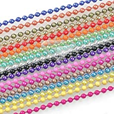 Lovely Shiny & Glittery Combo of 10 Colored Ball Chains For Jewellery Designing, Arts & Craft DIY School Project - 2 Mtr In Each Color