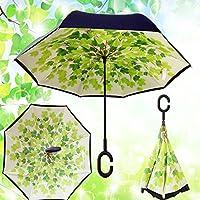MYC Yi Lian inverso pieghevole doppio strato invertito Umbrella anti-UV e ombrelloni e la pioggia con le mani a forma di C-libera della maniglia, le migliori compatto da viaggio Ombrello per l'auto (ombra)