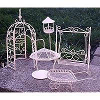Metall Miniatur Gartenmöbel Set 5 Tlg. Weiß Mini Garten Dekoration Möbel