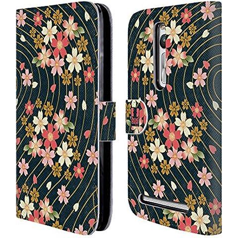 Head Case Ciliegi In Fiore Lacche Cover telefono a portafoglio in pelle per Asus Zenfone 2 ZE551ML / ZE550