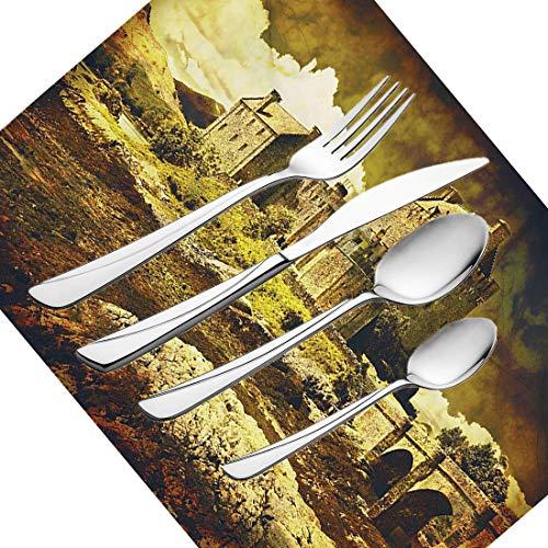 30-teiliges Besteckset, mittelalterliches Geschirr Besteckset aus Edelstahl für 6 Personen, einschließlich Messer, Gabeln, Löffel, Teelöffel und Tischset, altes schottisches Schloss im Vintage-Stil, E