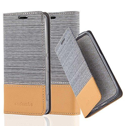 Cadorabo Hülle für Sony Xperia Z1 COMPACT - Hülle in HELL GRAU BRAUN – Handyhülle mit Standfunktion und Kartenfach im Stoff Design - Case Cover Schutzhülle Etui Tasche Book