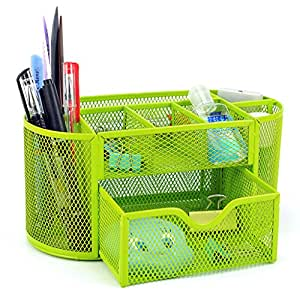BTSKY 9 Compartment Multi-functional Mesh Desk Organizer Office Tidy Organiser Space Saving Storage Office Supply Stationery Container Caddy with Drawer Pencil Holder (Green)