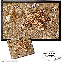 Set: 1 Felpudo Alfombrilla (60x40 cm) + 1 Alfombrilla Para Ratón (23x19 cm) - Estrellas De Mar, Starfish With Seashells In The Sand