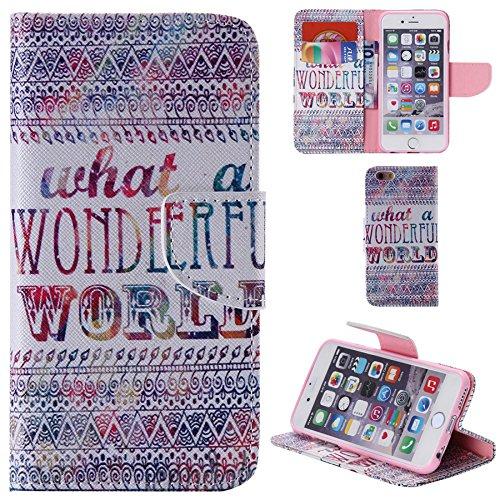 Ooboom® iPhone 5SE Hülle Flip PU Leder Schutzhülle Handy Tasche Case Cover Wallet Standfunktion mit Kartenfächer für iPhone 5SE - Wolf Wonderful World