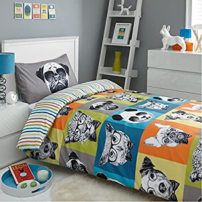 Dreamscene Funky Hipster Animal Print Duvet Cover Bedding Set With Pillowcases - Single, Multicolour - inexpensive UK light shop.