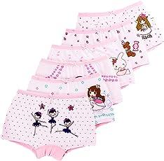 LeQeZe 6 pezzi Mutandine Bambina Ragazza Intimo per Bambini Mutande di Cotone Bambine e ragazze Shorty Intimo Taglia 1-11 anni