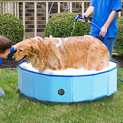 Jolitac Faltbarer Hundepool Swimmingpool Hunde Katze Doggy Pet Pool Haustierpool Badewanne Schwimmbecken Haustier Planschbecken mit Ablassventil (Small 80 x 20 cm)