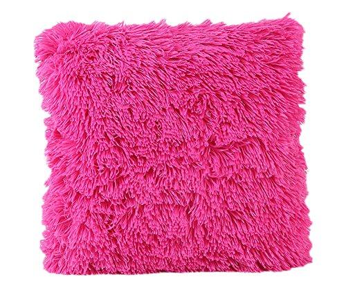 Wdoit 1pcs Simple color sólido cojines cubierta de felpa suave cuidado de la piel Color 43* 43cm...