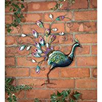 Hand Finished Diamante Peacock Wall Art Front Facing Design Multicoloured from Garden