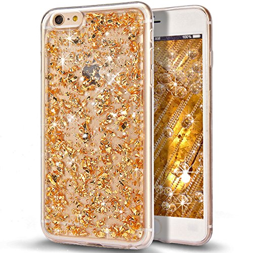 Custodia iPhone 6S, Custodia iPhone 6, Case Cover per iPhone 6S / 6, ikasus® Shiny Sparkly Bling Bling Glitter iPhone 6S / 6 Custodia Cover [Crystal TPU] [Shock-Absorption] Protettiva Trasparente Ultr Doro Scintillio Bling