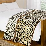 Dreamscene Animal Mink Faux Fur Throw, Leopard, 200 x 240 Cm
