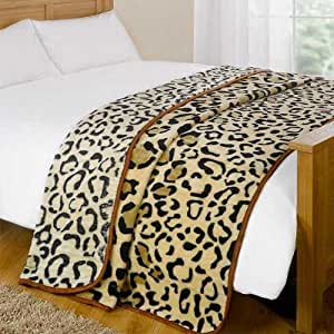 Dreamscene Animal Mink Faux Fur Throw, Leopard, 200 x 240 Centimetres