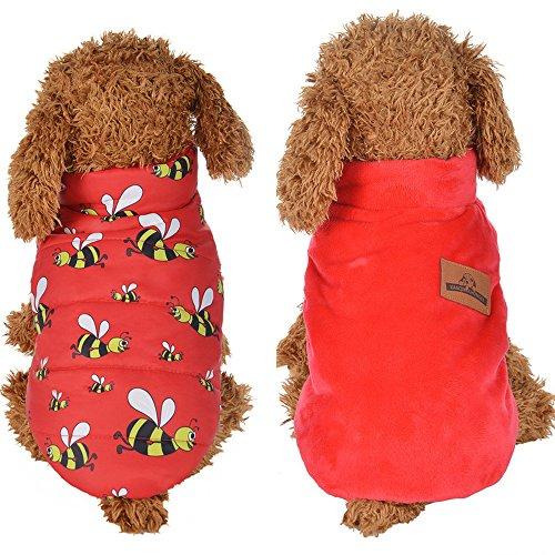 , kaíki 4Größe Cute Puppy Dog Cat Winter Warm Gepolsterte Haarverdichtung doppelseitig Weste Coat Kostüme Hunde Haustier Kleidung (Cute Dog Kostüme Muster)