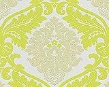 A.S. Création Vliestapete mit starkem Glitterauftrag Bling Bling Tapete neo barock 10,05 m x 0,53 m gelb grün weiß Made in Germany 313928 3139-28
