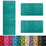 casa pura Scendiletto Sphinx | Tappeto camera | Pelo lungo | Set da 3 tappeti | Moderno | Blu