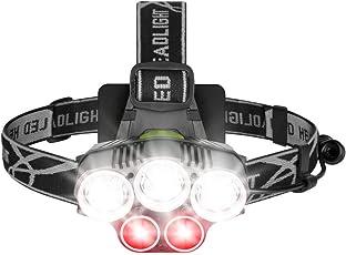 Anbero LED Stirnlampe, 8000 Lumen USB Wiederaufladbare LED Kopflampe Rotlicht Wasserdicht Stirnlampe für Laufen, Joggen, Campen, Kinder, nachtangeln